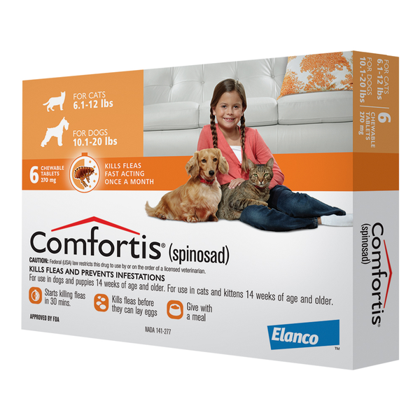Comfortis® Tablets for Dogs 10.1-20lb & Cats 6.1-12lb Orange 270mg 6 dose