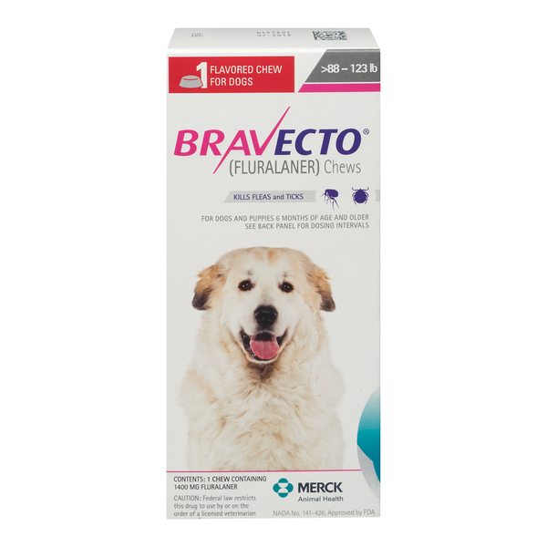 Bravecto Extra Large Dog 88.1-123lbs 1400mg 4 Chewable Tablets