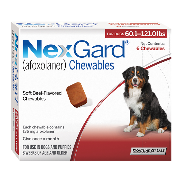 NexGard® Chewables for Dogs Red 60.1 - 121.0lbs 12pk