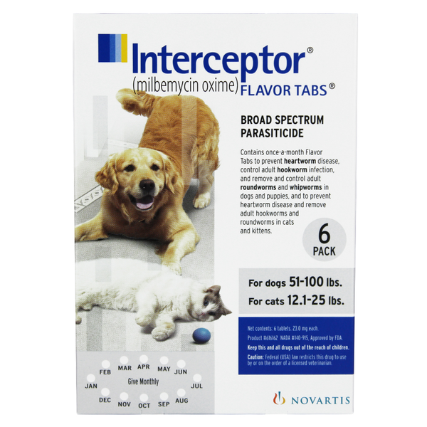 Interceptor® Flavor Tablets for Dogs 51-100 lbs & Cats 12.1-25lbs White 23mg 6pk