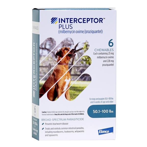 Interceptor® Plus Dog Chewable Tablets 50.1-100 lbs Blue 6pk
